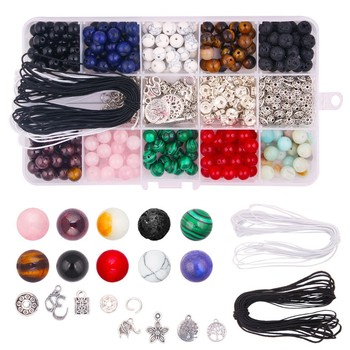 418pcs Stone Beads Kits 8mm Loose Gemstone Natural Lava with Accessories DIY Jewelry Findings Components Making