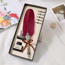 Feather Pen Ink Dip Alloy Sign European Style Vintage Turkey Wool Penholder With Holder Set