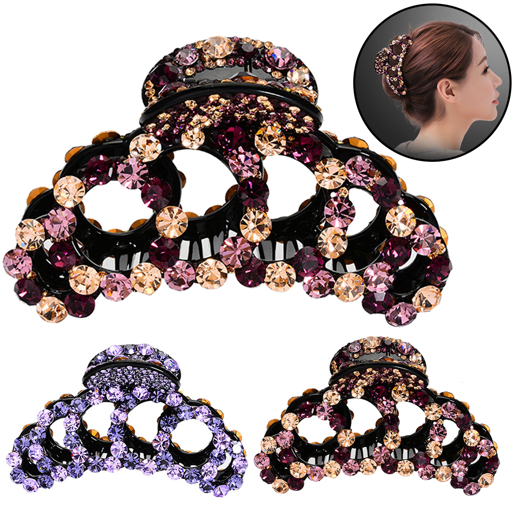 2019 New Fashion Women Crab Hair Claw Clip Elegant Crystal Rhinestone Ponytail Clip Hairpins Hair Styling Accessories   Headwear