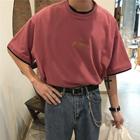 2019 Spring And Summer New Hot Korean Version Of Hip Hop Retro Couple Solid Color Short sleeved T shirt Harajuku Streetwear Best