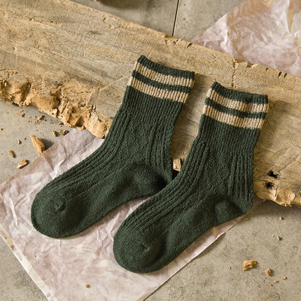 Fashion Winter Socks Women Cashmere Wool Thick Warm Striped Design Socks