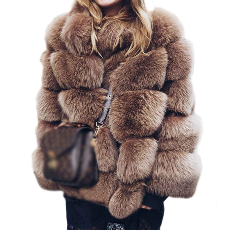 2019 New Winter Faux Fox Fur Coats Women Plus Size Thick Jacket Casual Stand Collar Casual Outwear Fake Fur Warm Overcoat Female