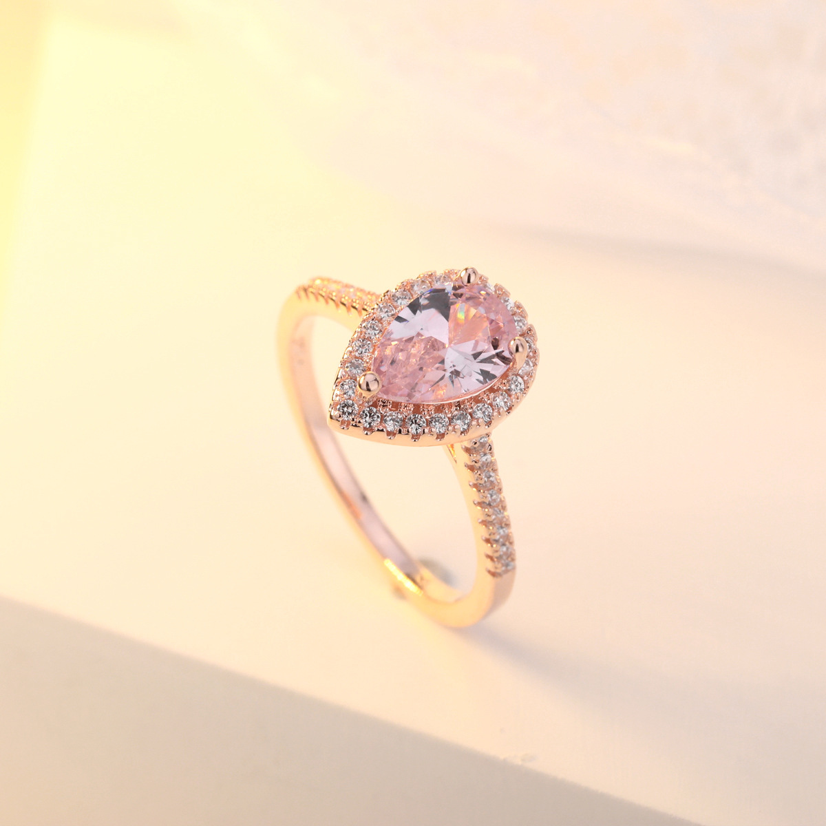 14K Rose-gold Rings Diamond Pink Crystal Heart-shaped Anillos De Bizuteria For Women Bague Etoile Diamante 14k Topaz Ring Gem