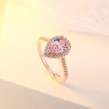 цена на 14K Rose-gold Rings Diamond Pink Crystal Heart-shaped Anillos De Bizuteria for Women Bague Etoile Diamante 14k topaz Ring Gem
