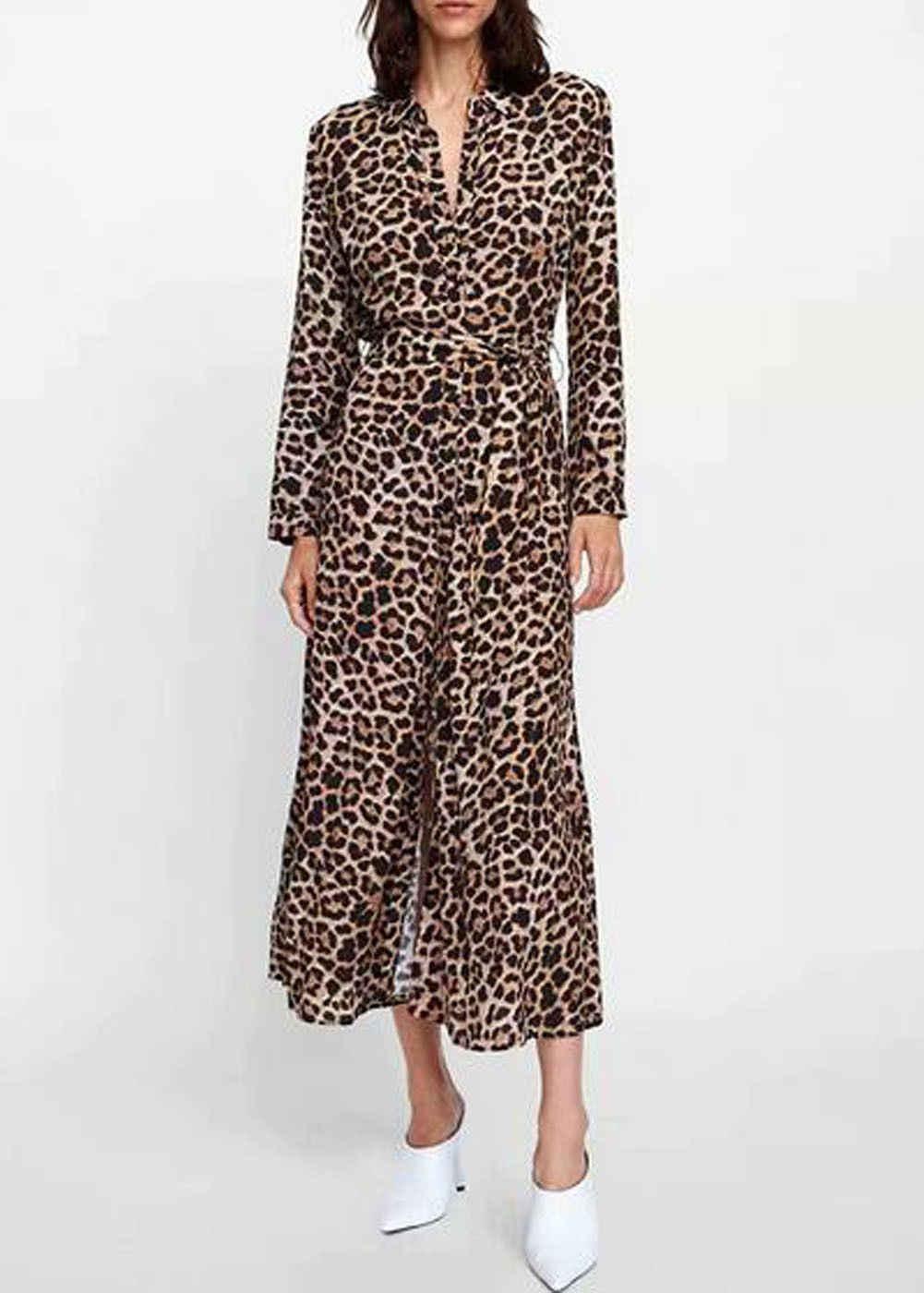 d62ec849c4e ... Ladies Casual Leopard Print V-Neck Slit Belt Dresses Women Autumn Long  Sleeve Shirt Maxi ...