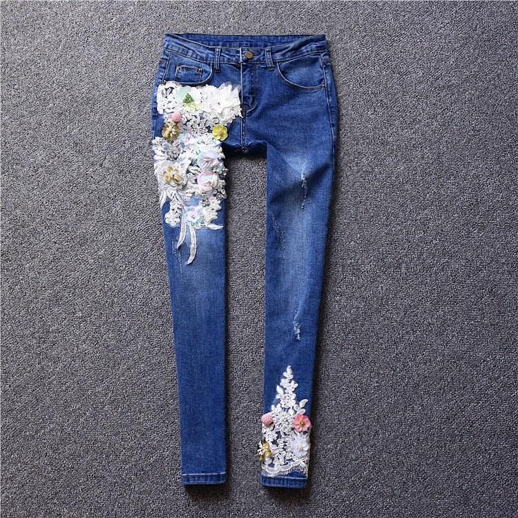 Cordón Llegados Lentejuelas Recién De Denim Mujer Pantalones Vaqueros Apliques Bordado Moda Azul 2019 PFPq8