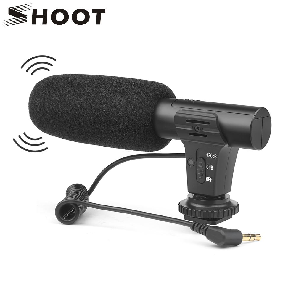 SHOOT 3.5mm Stereo Camera Microphone VLOG Photography Interview Digital Video Recording Microphone for Nikon Canon DSLR Camera(China)