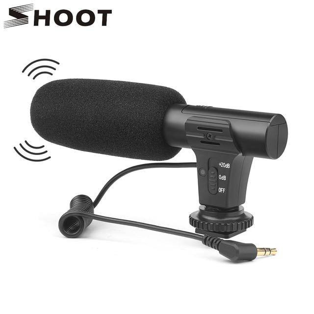 Ateş 3.5mm Stereo kamera mikrofon VLOG fotoğrafçılık röportaj dijital Video kayıt mikrofonu Nikon Canon DSLR kamera için