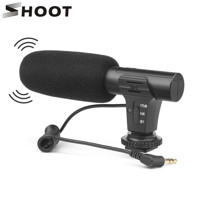SHOOT 3.5mm Stereo Camera Microphone VLOG Photography Interview Digital Video Recording Microphone for Nikon Canon DSLR Camera