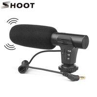 SHOOT 3.5mm mikrofon stereofoniczny VLOG fotografia wywiad cyfrowy mikrofon do nagrań wideo dla Nikon Canon lustrzanka cyfrowa w Mikrofony od Elektronika użytkowa na