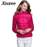 Winter women light coat duck down hooded jackets long sleeve warm slim short coat female solid outwear big size with pocket