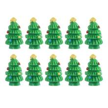 10pcs miniature resin christmas tree decorations ornaments for crafts pot plant flowerpot terrariums cactus decorations