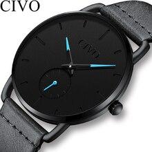 цена CIVO Sport Casual Men Watches Waterproof Analogue Quartz Wrist Watch 2019 New Unique Design Leather Strap Watch Men Reloj Hombre онлайн в 2017 году