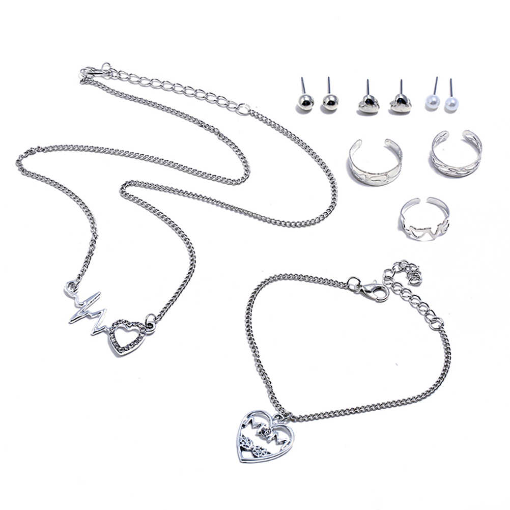 4 יח'\סט סגסוגת אופנה ewelry סטי תליון שרשרת קסם טרנדי פשוט כל התאמה שרשרת מתנה עבור נשים גבירותיי בנות נקבה