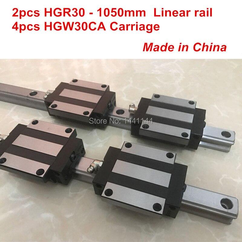 HGR30 linear guide: 2pcs HGR30 - 1050mm + 4pcs HGW30CA linear block carriage CNC partsHGR30 linear guide: 2pcs HGR30 - 1050mm + 4pcs HGW30CA linear block carriage CNC parts