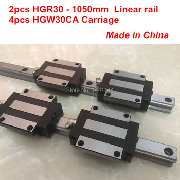HGR30 linear guide: 2pcs HGR30 - 1050mm + 4pcs HGW30CA linear block carriage CNC parts