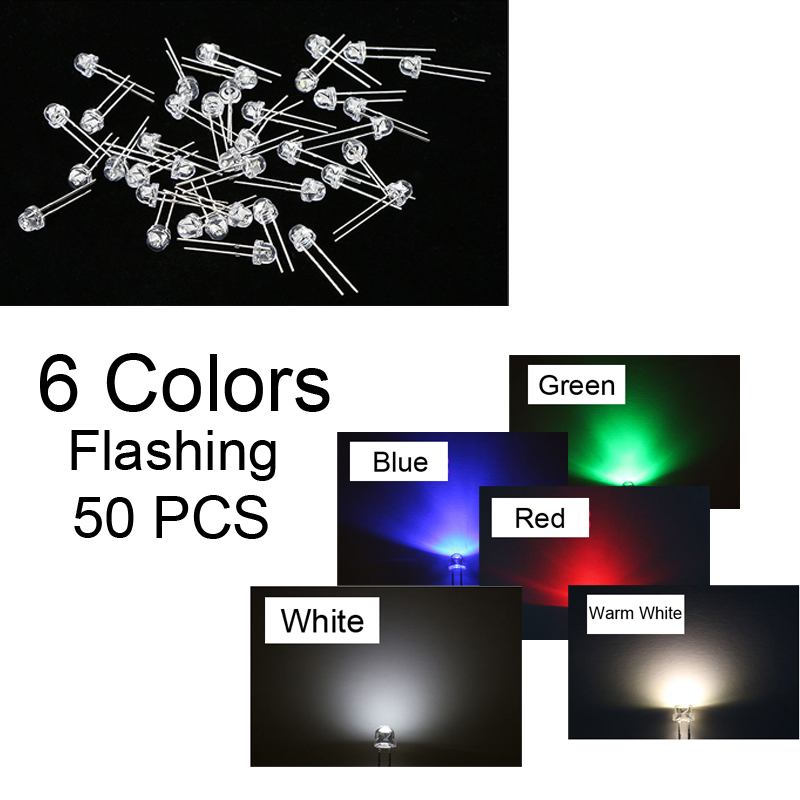 50PCS  Emitting LED Diode Straw Hat Light Round Top 6 Color Fast/slow RGB Flashing Lot F3 F5 3mm 5mm Blue Warm Green