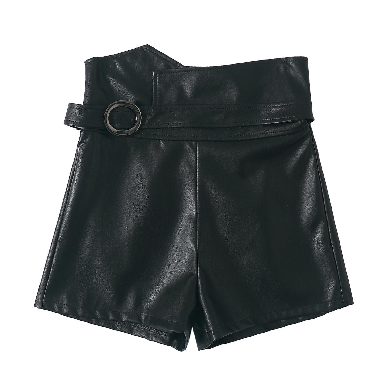 Imitación Otoño Caliente De Cuero Pantalones Sexy Con Invierno Cinturón Mujeres Cortos Mini Las Super Pu 7Bpw5wq