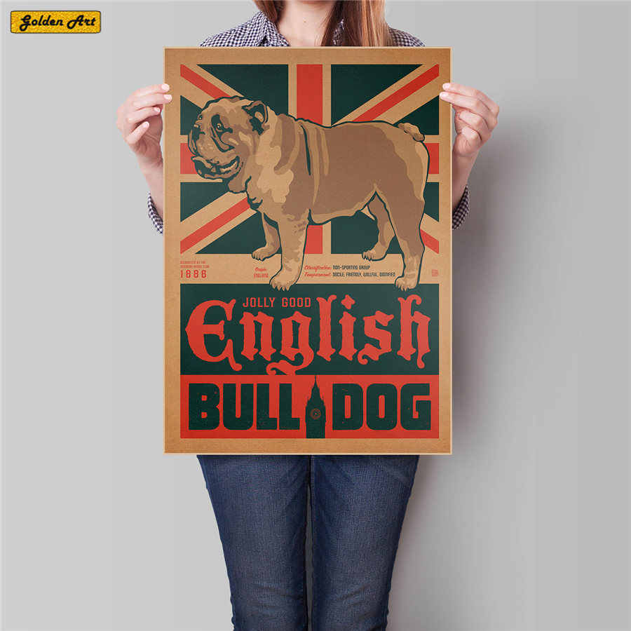 Vintage UK DOG animal kraft paper poster wall sticker home decor retro art painting prints picture living room 45.5x31.5cm
