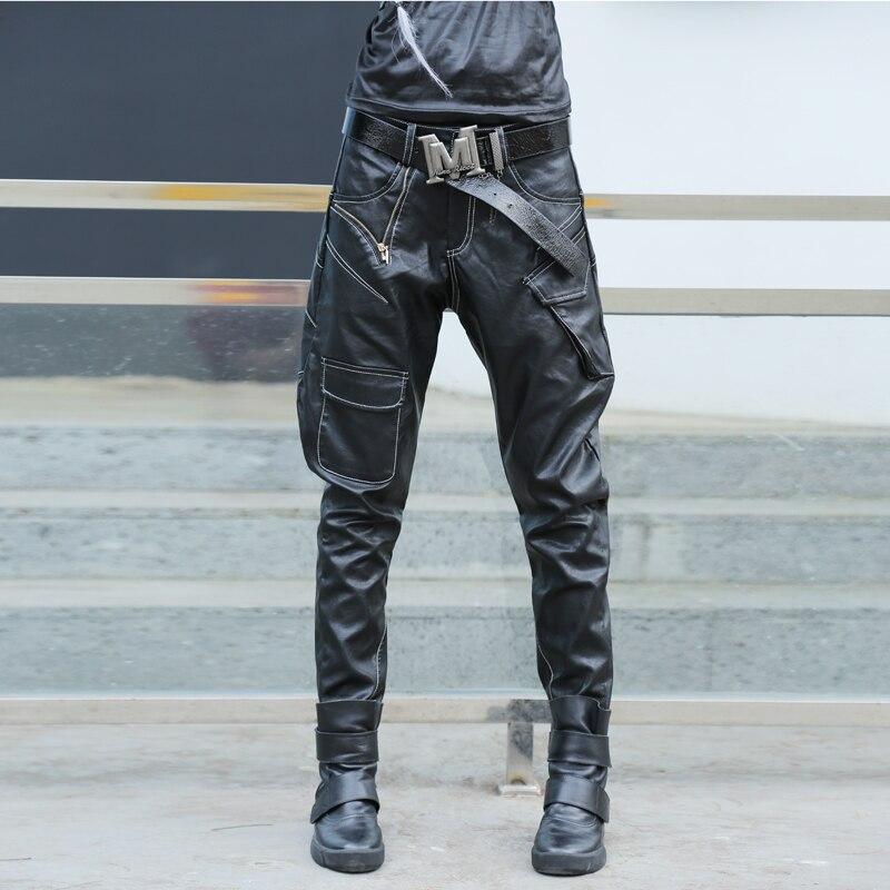 #2828 moto pantalons en cuir synthétique polyuréthane femmes Multi poches noir Faux cuir pantalon femmes Hip Hop Harem pantalon Streetwear danse Punk Rock
