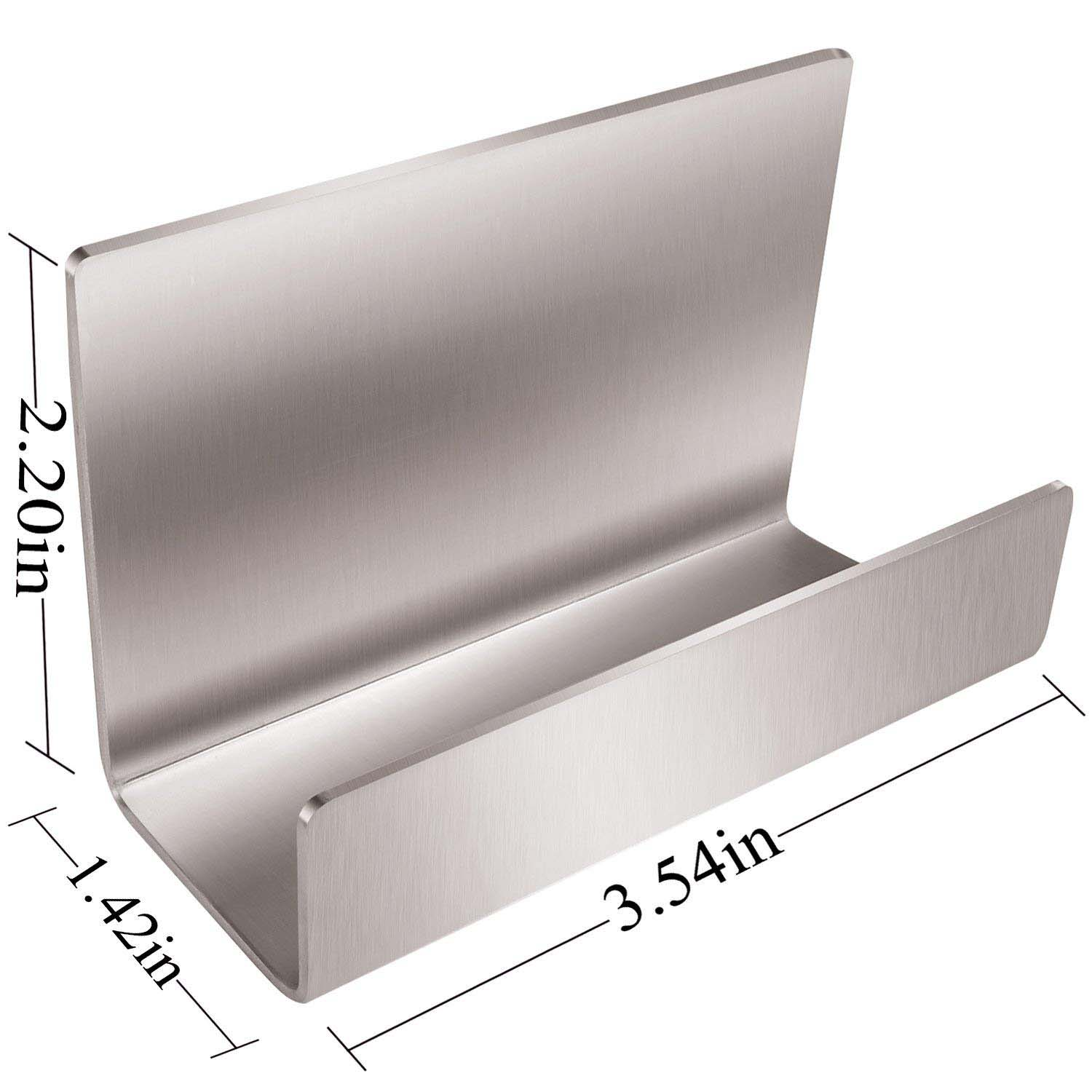 Us 8 53 30 Off Sivler Full Stainless Steel Office Business Card Holder Table Desktop Name Stand Display Silver In Note