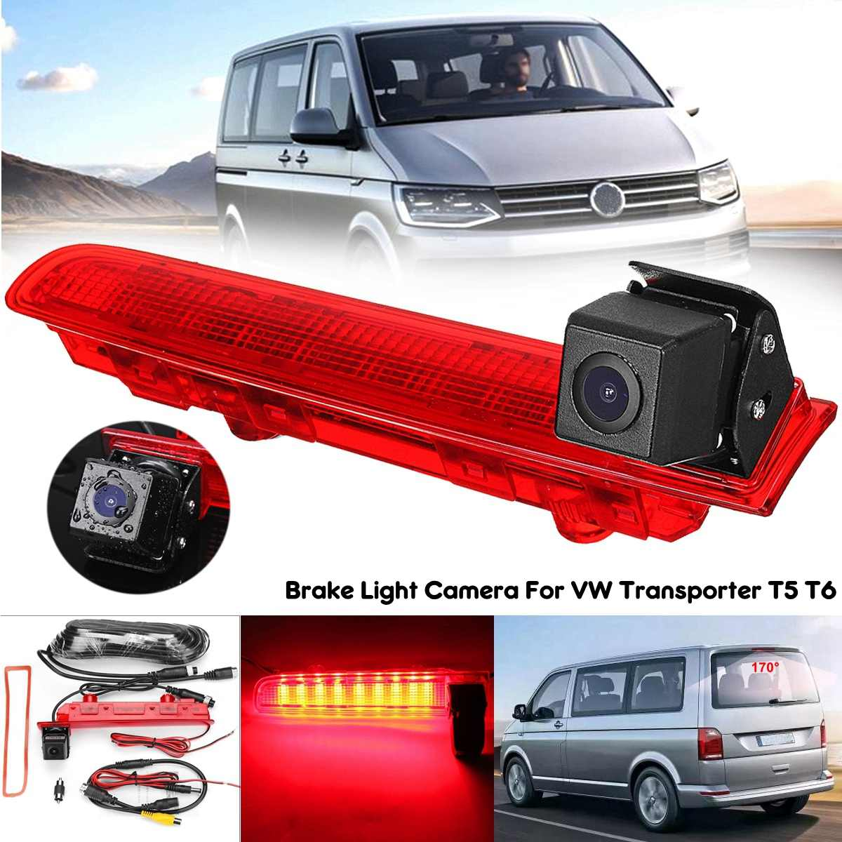 170 Degree Car Reversing Backup Rear View Camera W/Brake Light For VW Transporter T5 & T6 2010 - Onwards