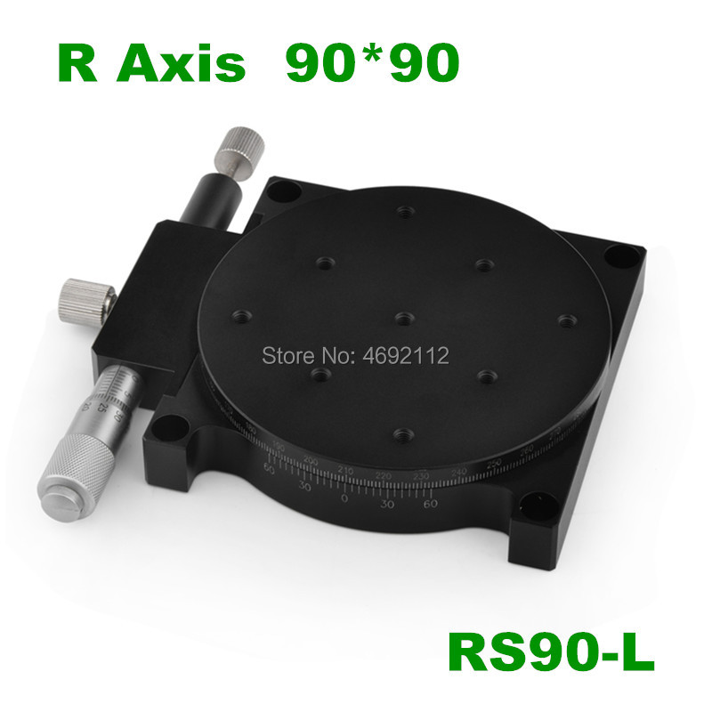 R Axis 90mm 3.5 Manual 360 Degrees Rotary Sliding Table Micrometer Precision Displacement Angle Adjust Platform Optical RS90-LR Axis 90mm 3.5 Manual 360 Degrees Rotary Sliding Table Micrometer Precision Displacement Angle Adjust Platform Optical RS90-L