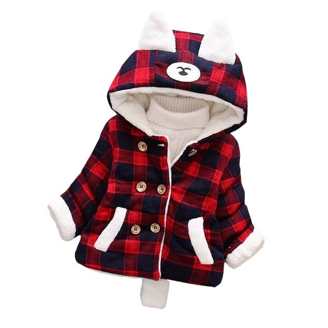 Tong Baobao Autumn and Winter Cotton 2018 New Baby Children Cartoon Thickening Warm Cotton Plaid Toddler Coat
