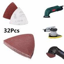 32 шт. 80 мм крюк и петля Delta Песочная бумага шлифовальный лист для осциллирующих мульти-инструментов 60 120 180 240 Зернистость