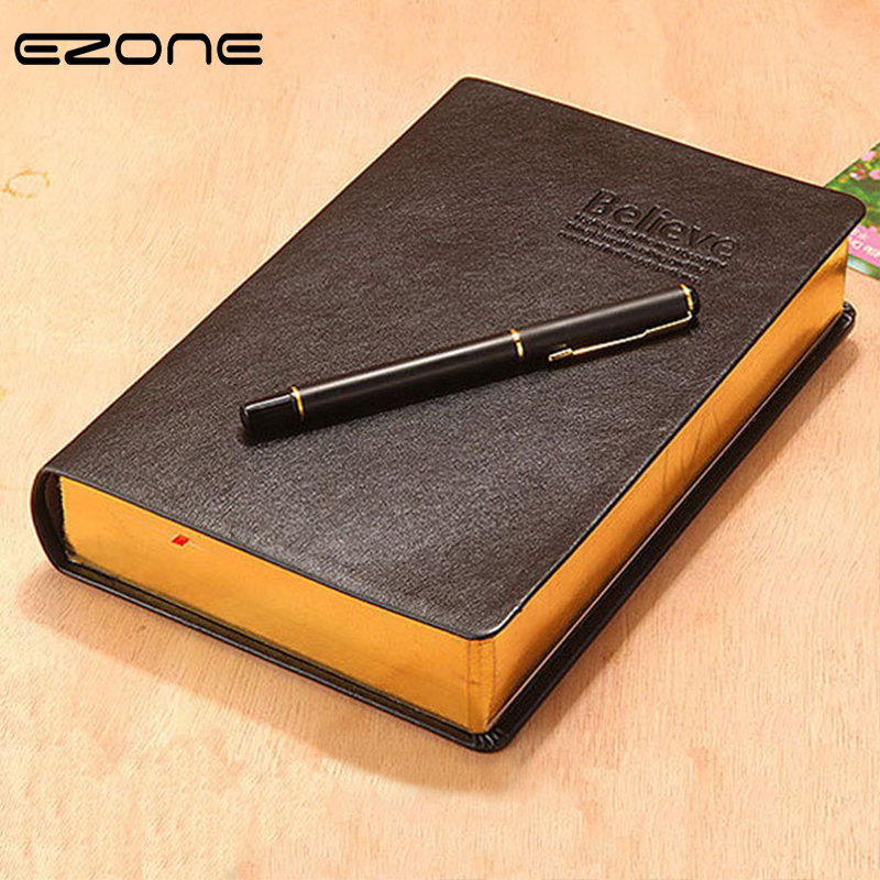 EZONE Pure Cowhide Cover Thick Notebook A7 White Golden Edge Notepad Blank Page Line Page Diary Office School Stationery Supply EZONE Pure Cowhide Cover Thick Notebook A7 White Golden Edge Notepad Blank Page Line Page Diary Office School Stationery Supply