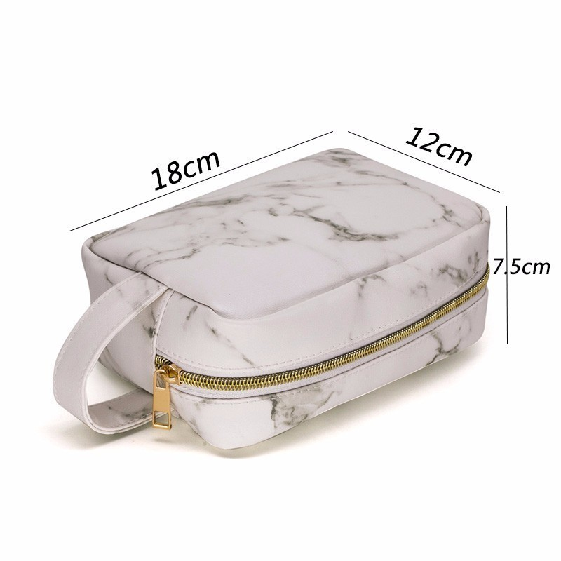 8dbb66b13282 US $7.52 27% OFF SNUGUG Marble Travel Cosmetic Bag Big Luxury Makeup  Cosmetic Bags Neceser Mujer Maquillaje PU Leather Cosmetic Bag Toiletry  Bag-in ...