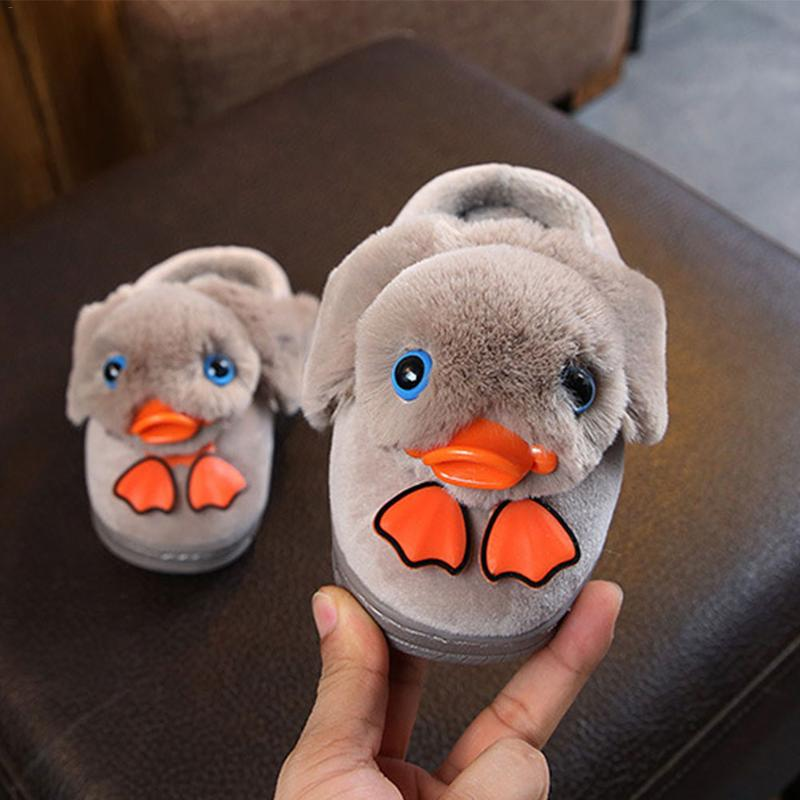 Kids Shoes Cotton Slippers Duck Shape Home Slippers Boys And Girls Winter Warm Nonslip Baby House Convenient Slippers Slippers     - title=