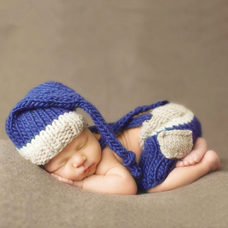 Newborn Baby Photography Props Accessories Infant Knit Hat+Suspenders Set Baby Photo Props Crochet Baby Photography Clothing
