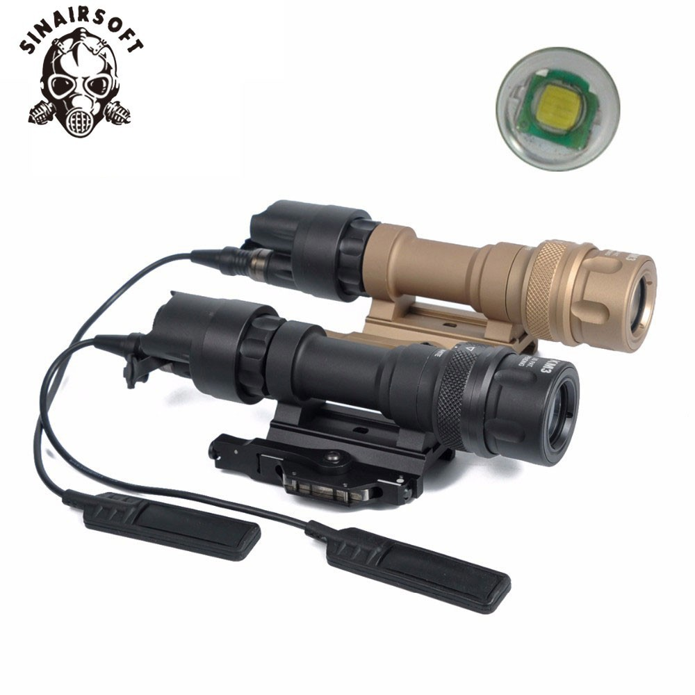 Hot M952V Black QD Quick Release Tactical Rifle Flashlight Mount Weapon Lights 400 Lumens For Paintball