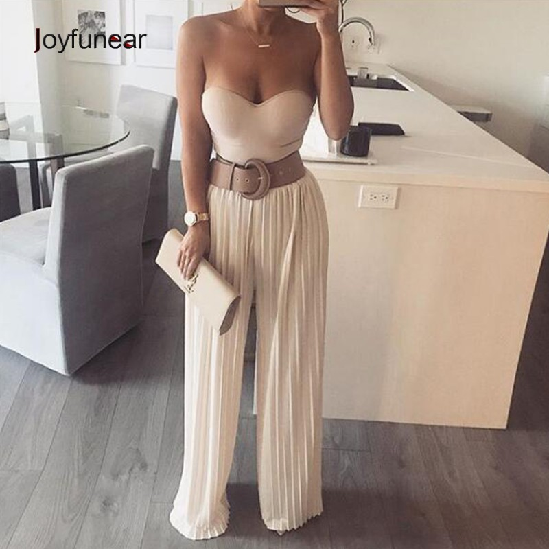 Joyfunear Khaki Straight Lengthy Attractive Jumpsuit For Girls 2018 Zipper Tops Celebration Jumpsuit Overalls Feminine Stable Full Size Rompers