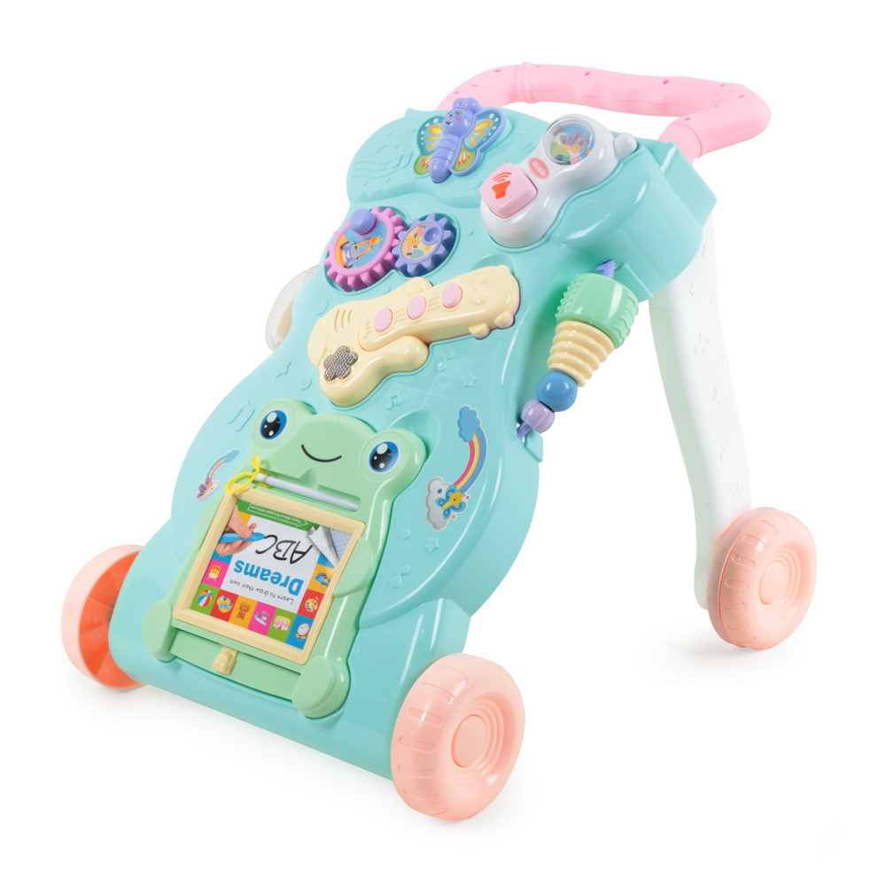 Baby Walkers Toddler Safety With Wheels Trolley Sit-To-Stand Musical Walker Go-Carts Learning Walking Assistant First Steps Car