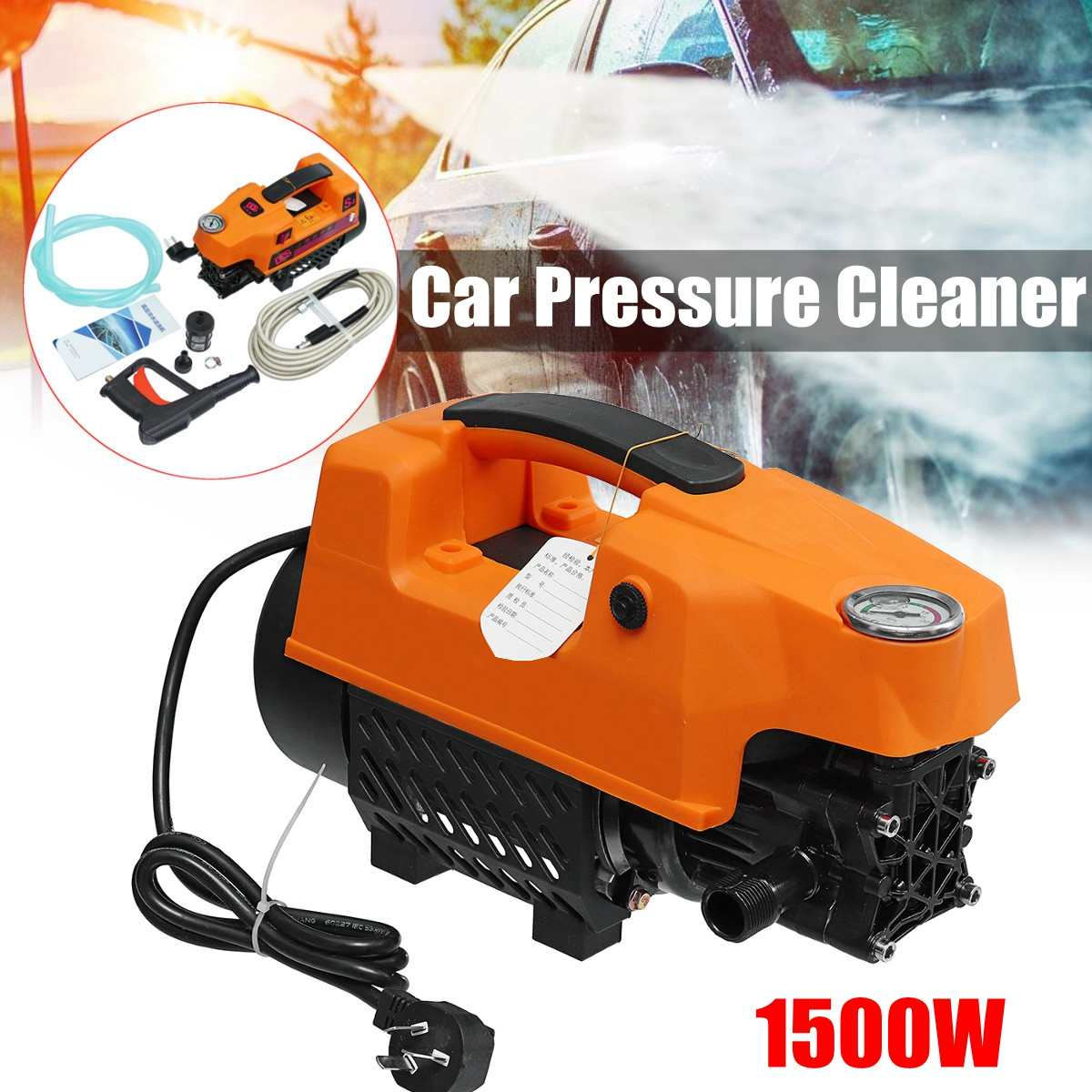 High Pressure Washer 1500W Portable Electric Car High Pressure Washing Cleaner Machine 220V 1300Psi Portable Car Washer no tax to russsia full automatic portable haimao high pressure car washer 220v household car washing machine