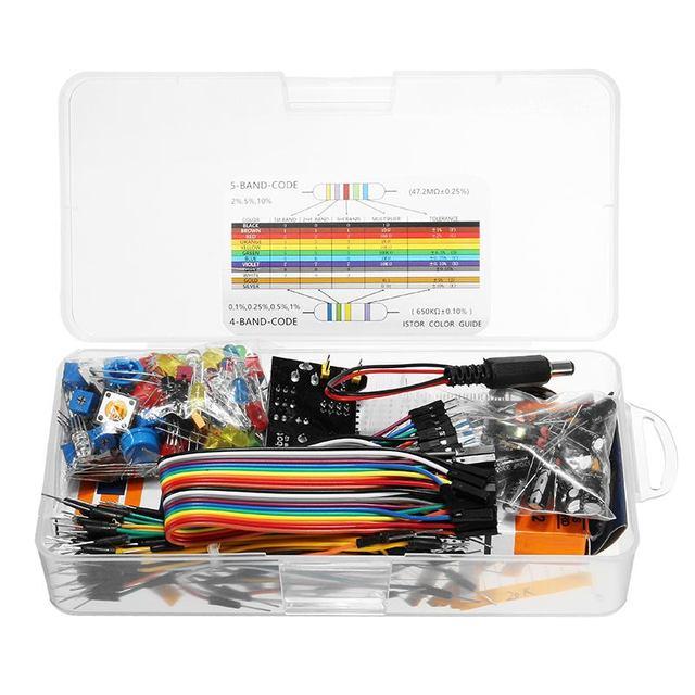 مكونات إلكترونية جديدة مجموعات بداية جونيور مع المقاوم لوحة الخبز وحدة امدادات الطاقة لاردوينو مع حزمة صندوق بلاستيكي