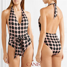 Dot Printed Bandage Swimwear Halter Deep V Neck Sexy Backless Swimsuit monokini maillot de bain femme 2019 one piece Suits one piece swimsuit new maillot de bain femme push up swimwear female leopard monokini bodysuit one piece v neck backless