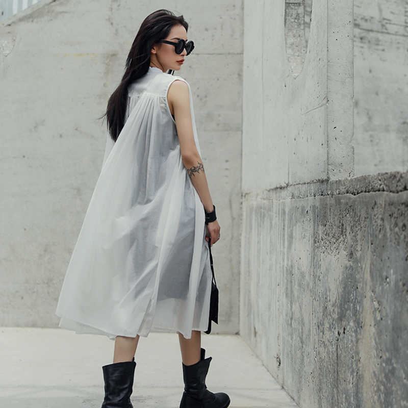 [EAM] 2019 Новое весенне-летнее черное свободное тонкое платье без рукавов со стоячим воротником большого размера Женская мода Tide JU444