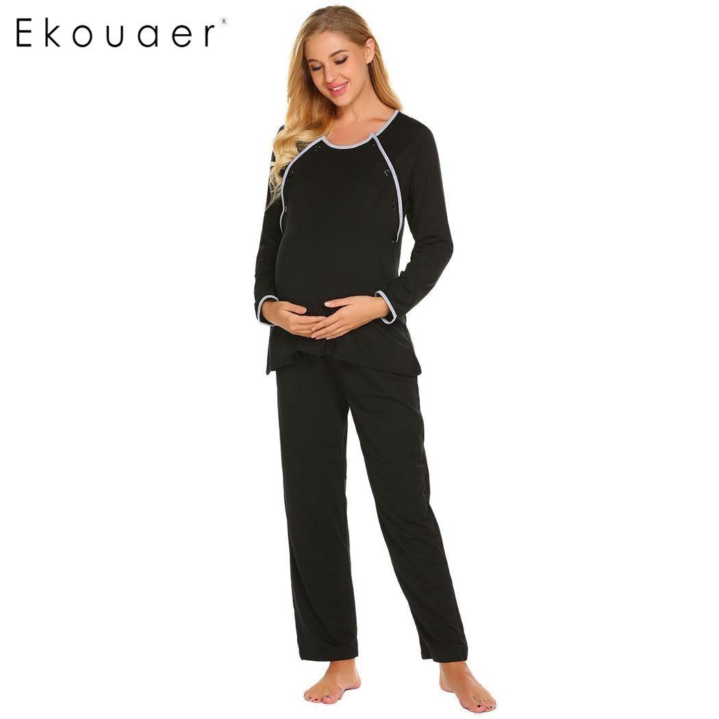 Ekouaer Autumn   Pajama     Set   Nightwear Women Solid Long Sleeve Tops And Long Pants Maternity Breastfeeding Sleepwear   Pajamas     Sets