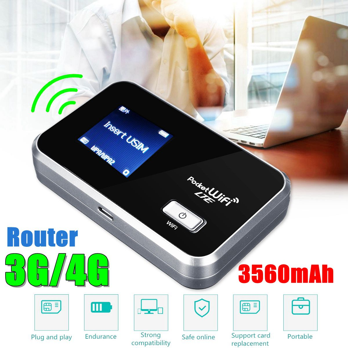 LEORY Router Portable WIFI 3g-2100/1700 4g-1700MHz Battery 3560mAh 4G LTE Cat4 Mobile Hotspot