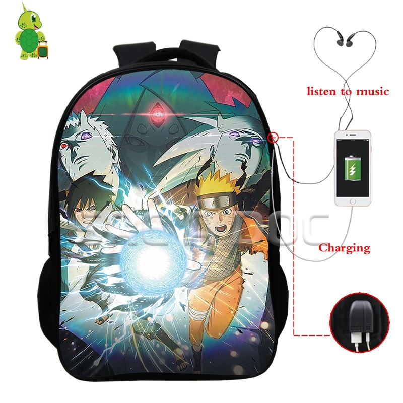 Naruto Backpacks mochila Sasuke Akatsuki Multifunction USB Charge Headphone Jack School Bags for Teenagers Daily Laptop BackpackNaruto Backpacks mochila Sasuke Akatsuki Multifunction USB Charge Headphone Jack School Bags for Teenagers Daily Laptop Backpack