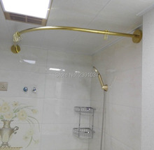 2019 Gold Stainless L Shaped Shower Curtain Poles Punch-Free Curved Rod Suction Cups Bathroom Rail Track