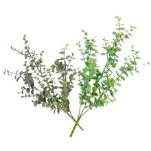 Artificial Holiday Party Wedding Decoration Plastic Eucalyptus Branch Flower Arrangement Small Leaf Plant For
