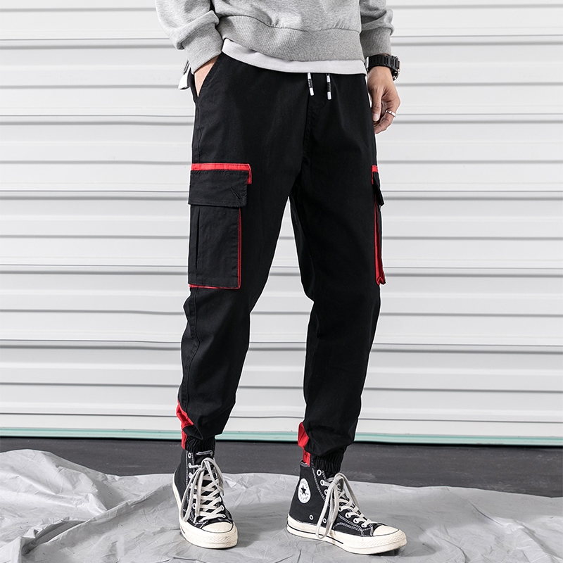 2019 Spring And Summer New Trend Korean Version Of The Couple Casual Fashion Tooling Large Pockets Slim Sweatpants Streetwear