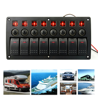 8 Gang Rocker Switch Panel Circuit Breakers 3P Red Horizontal Bar Switch PCB Board Overload Protector Car Auto Boat Marine Yacht