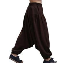 Mens Pants Cotton Linen Retro Harem Cross-pants Crotch Wide Leg Men Skirt Bloomers Trousers Plus Size M-5xl