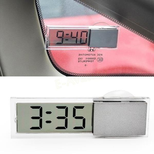 Reloj de coche, Mini pantalla LCD Digital transparente con ventosa de cristal, adornos electrónicos para coche, accesorios para moto