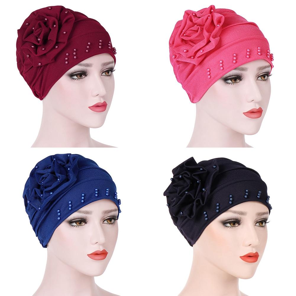 Image 5 - Fashion Women New Style Ruffled Big Flower Scarf Cap Muslim Head  Wrap Cap Chemo Turban Ladies Bandanas Hair AccessoriesWomens Hair  Accessories